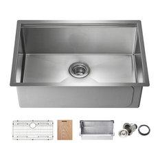 "KIBI Undermount Single Bowl Workstation Sink, Stainless Steel 28"""