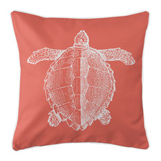 Vintage Sea Turtle Pillow, White on Coral