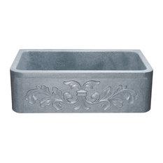 "Floral Carving Front 33"" Farmhouse Sink, Mercury Granite"
