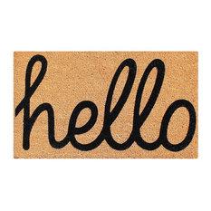 """Fade Resistant 'Hello' Entry Coir Flocked Doormat, 24""""x36"""""""