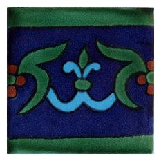 2x2 36 pcs Blue Liz Flower Talavera Mexican Tile