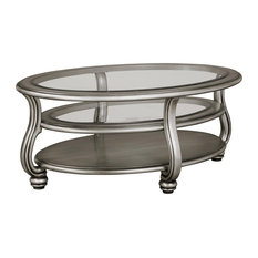Coralayne Oval Cocktail Table Silver by Ashley Furniture Industries