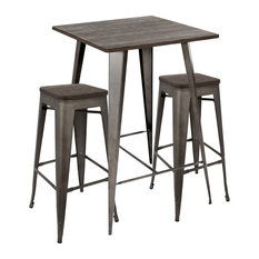 LumiSource   Oregon 3 Piece Industrial Pub Set, Antique And Espresso    Indoor Pub