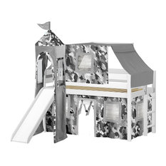 Jackpot Castle Low Loft Bed, White With Slide, Gray Camo Tent and Tower