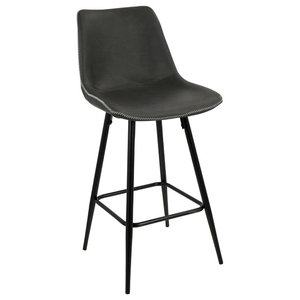 """Durango 26"""" Counter Stool in Black With Gray Vintage Faux Leather, Set of 2"""