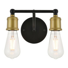 Serif 2 Light Brass and Black Wall Sconce, Bulbs not Included