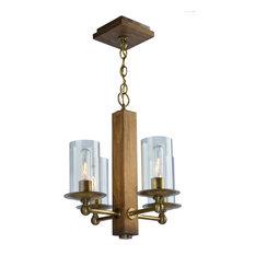 Legno Rustico 4 Light Chandelier in Burnished Brass