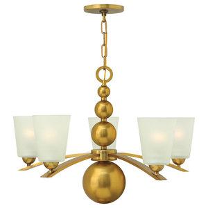 Zelda Modern 5-Light Chandelier, Vintage Brass