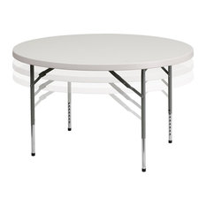 Flash Furniture 48'' Round Height Adjustable Granite White Folding Table