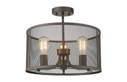 """CHLOE Lighting LORRY 3-Light Rubbed Bronze Convertible Ceiling Fixture 16"""""""