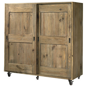 Girasole Aged Pine Cupboard on Wheels