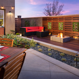 Design Ideas For A Small Contemporary Backyard Landscaping In San Diego  With Decking For Spring.