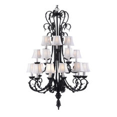 White Crystal Chandelier With White Shades