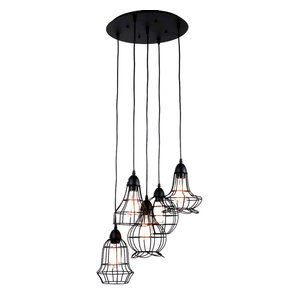 Rustic Barn Metal Chandelier With 5 Lights Black Finish