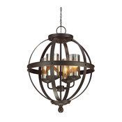 Sfera 4-Light Chandelier, Autumn Bronze, Mercury Glass