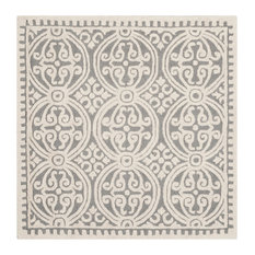 safavieh safavieh pasquale handtufted rug silver and ivory 4u0027x4 - Square Area Rugs