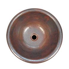 "15"" Round Copper Bath Sink Drop In or Vessel Type Installation"