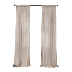 "Linen Sheer Curtain Single Panel, Open Weave Cinder Gray, 50""x84"""