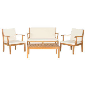 Safavieh Mallorca Outdoor Living Set, 4-Piece, Teak Brown and Ecru