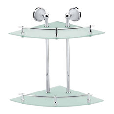 Glass/Stainless, 2 Tier Glass Corner Shelf, Clear