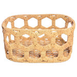 Jo-Liza International - Honeycomb Basket Brown - honeycombe deisgn baskte wrought iron based handwoven with segarss in natural brown