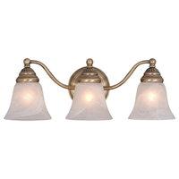 "Bathroom Vanity 3 Light Fixtures With Antique Brass Finish Steel Medium 19"" 300"