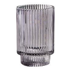 Smoke Ribbed Glass Votive Holder