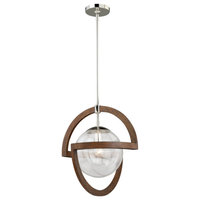 Mondial 1 Light Nickel Mid-Century Modern Geometric Wood Globe Pendant