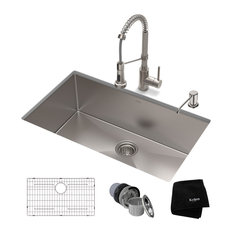 """32"""" Undermount Stainless Steel Kitchen Sink, Pull-Down Faucet SS with Dispenser"""