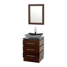 "Wyndham Collection 22"" Rioni Single Sink Vanity, Espresso With Smoke Glass Top"