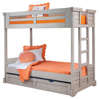 Brylee Twin Over Twin Louvered Bunk Bed, Antique Gray With Twin Trundle