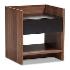 Two-Tone Walnut And Black Nightstand