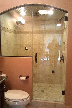 framless return shower doors with knee walls shower doors