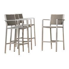 gdfstudio capral outdoor gray wicker bar stools set of 4 outdoor bar stools