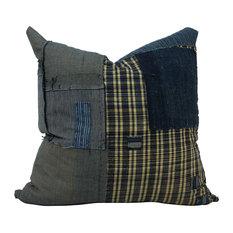"Denim Japanese Boro Patchwork Pillow, 12""x20"", Envelope Back, Cover Only"