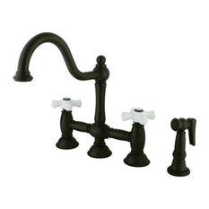 "Restoration 8"" Deck Mount Kitchen Faucet With Brass Sprayer, Oil Rubbed Bronze"