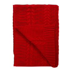 """A1HC Cable Knit GOTS Organic Cotton Over-sized Throw Blanket, 50""""x70"""", Red"""