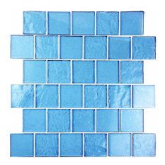 """Miseno Scenery Glass Wall Tile Sheet, 2""""x2"""", Blue Dane"""