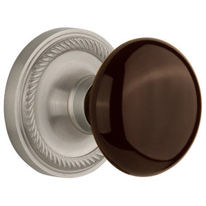 2.375 702580 Privacy 2.375 Nostalgic Warehouse Rope Rosette with New York Knob Satin Nickel Privacy