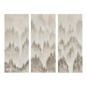 Madison Park Sterling Mist Hand Brush Embellished Canvas 3-Piece Set