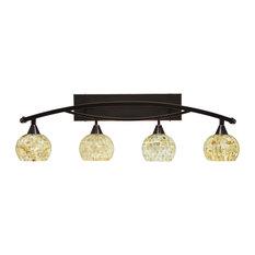 "Bow 4 Light Bath Bar, 6"" Mystic Seashell Glass"