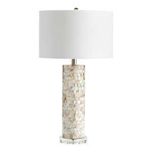 Cyan West Palm Table Lamp, Mother Of Pearl