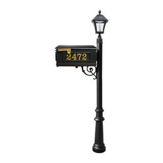 QualArc Mailbox Post W/Number, Brace, Fluted Base and Bayview Solar Lamp, Black
