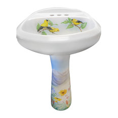 Hand Painted Mountain Goldfinch Pedestal Sink, Limited Edition