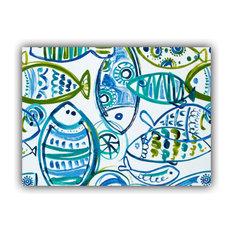 Schooling Fish Aqua Indoor/Outdoor Placemat, Finished Edge