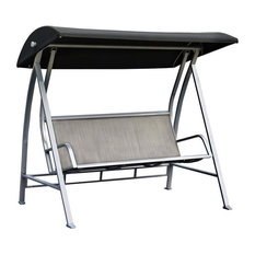 Durable Steel Frame 3-Seat Sling Canopy Swing In Grey For Outdoor Patio Porch