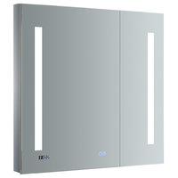 "Tiempo 30""x30"" Bathroom Medicine Cabinet With LED Lighting and Defogger"