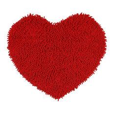 "Shagadelic Chenille Twist 20""x24"" Heart Rug, Red"