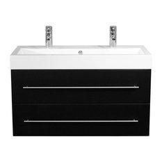 Emotion Sunrise Wall-Mounted Bathroom Vanity Unit, 100 cm, Black Semi-Gloss