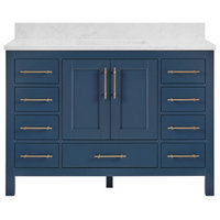 "Kendall Midnight Blue Bathroom Vanity, 48"", With Carrara Marble Top"